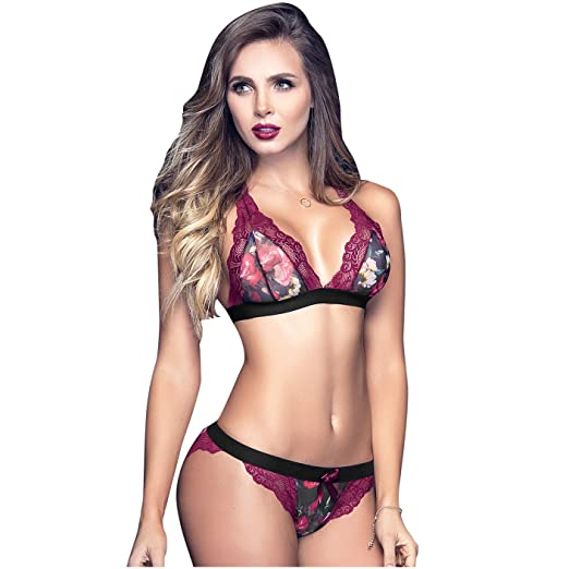 Mapalé 2 Piece Set Printed Sexy Underwear for Women Ropa Interior De Mujer at Amazon Womens Clothing store: