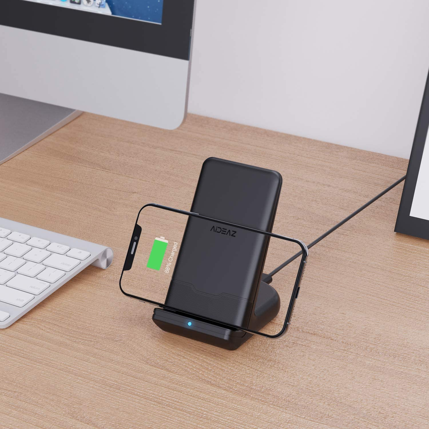AIDEAZ Wireless Charger Qi Wireless Charging Stand Includes AC Adapter 10W for Galaxy S20//S10//S9//Note 10//Note 9 5W for Other Qi Phones Compatible with iPhone 11//11 Pro Max//XS Max//XR//XS//X//8//Plus//8