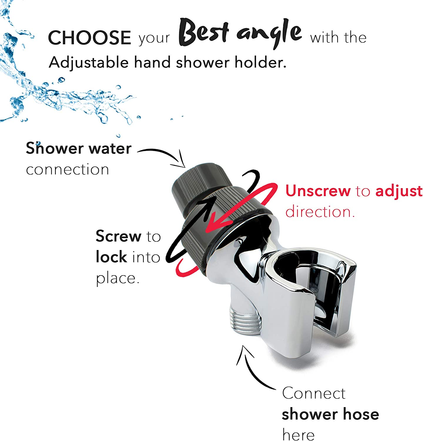 The Shower Company Extreme TSC Full Shower Kit High Pressure 7 Functions Detachable Shower Head With Metal Hose And Wall Mount And Free Bonus Cleaning Accessory