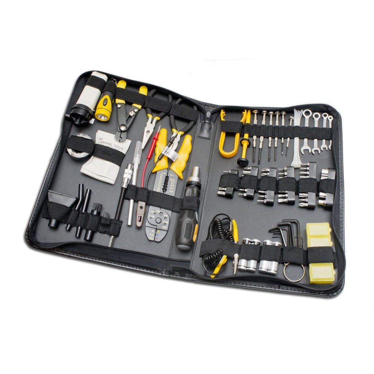 100 Piece Computer Technician Tool Kit for Repairing, Wiring, Cleaning, and Testing