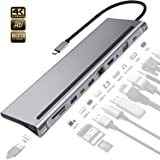 HEYMIX 11IN1 USB C Adapter Type C Hub,USB 3.0 Ethernet VGA 4K HDMI Port,SD/TF Card Reader,PD Charging Port and 3.5mm Audio Jack for New MacBook 12, MacBook Pro, Dell XPS 13, Google Chromebook