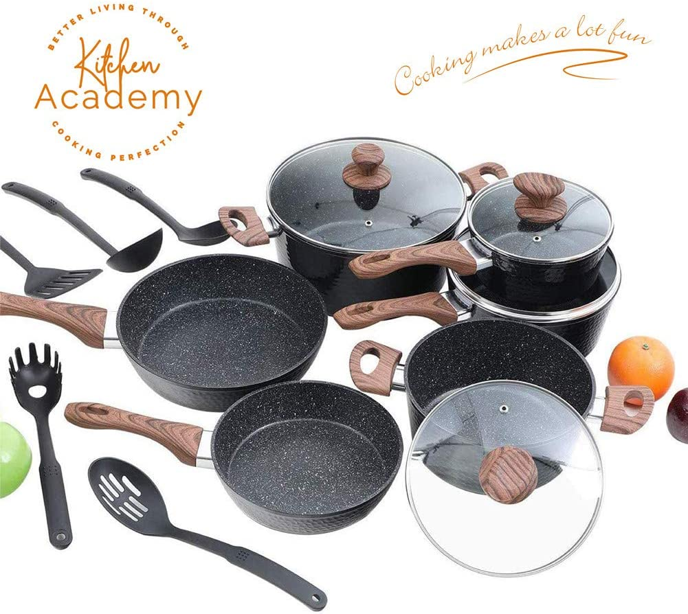 Kitchen Academy Hammered Nonstick Cookware set, Kitchen Pots and Pans Set