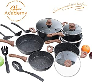 Kitchen Academy Hammered Nonstick Cookware set, Kitchen Pots and Pans Set