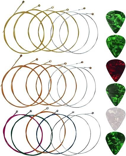 Yookat - Cuerdas para guitarra acústica con 6 púas, 3 juegos de 9 ...