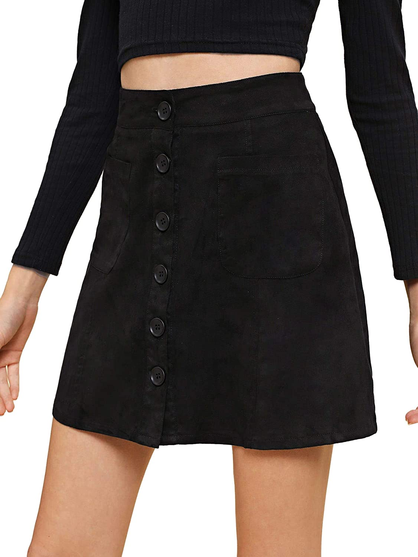 Black1 Verdusa Women's Casual Patch Pocket ButtonUp ALine Short Skirt