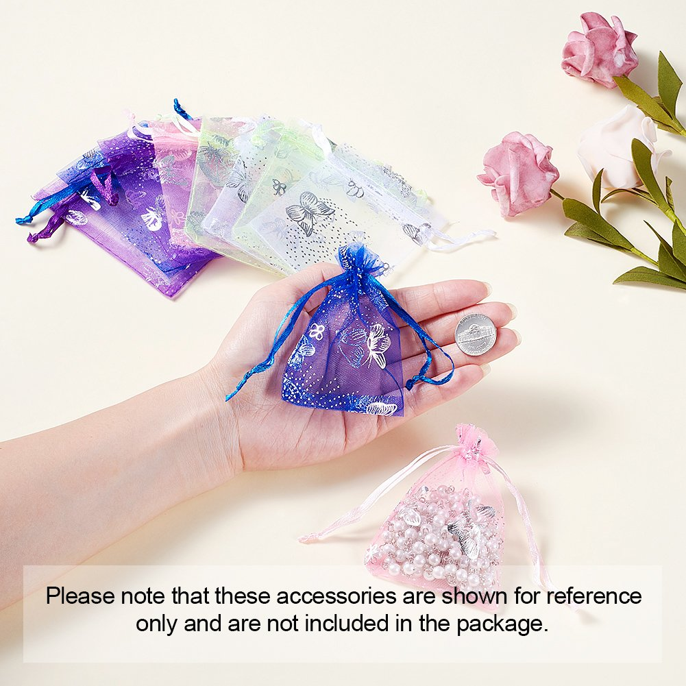 Mixed Color Beadthoven 200pcs 8x10cm Organza Bags Small Gift Favor Bags for Wedding Gift Holiday Party Gift Bag Candy Wrapping Jewelry Package About 3x4 Inch