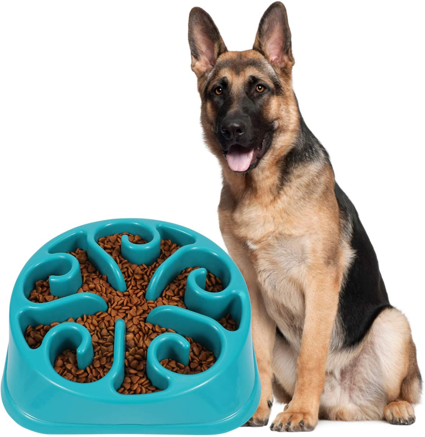 JASGOOD Large Dogs Bowl,Fun Slow Feeder Dog Bowl,Anti-Gulping Dog Slow Feeder Stop Bloat,Eco-Friendly Durable Big Pet Bowl