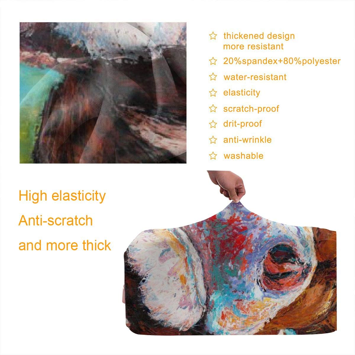 Luggage Cover Protective Washable Suitcase Protector Cover Travel Elastic Spandex Baggage Protector Milk Cow Farmhouse Oil Painting Fit 18 To 32 Inch
