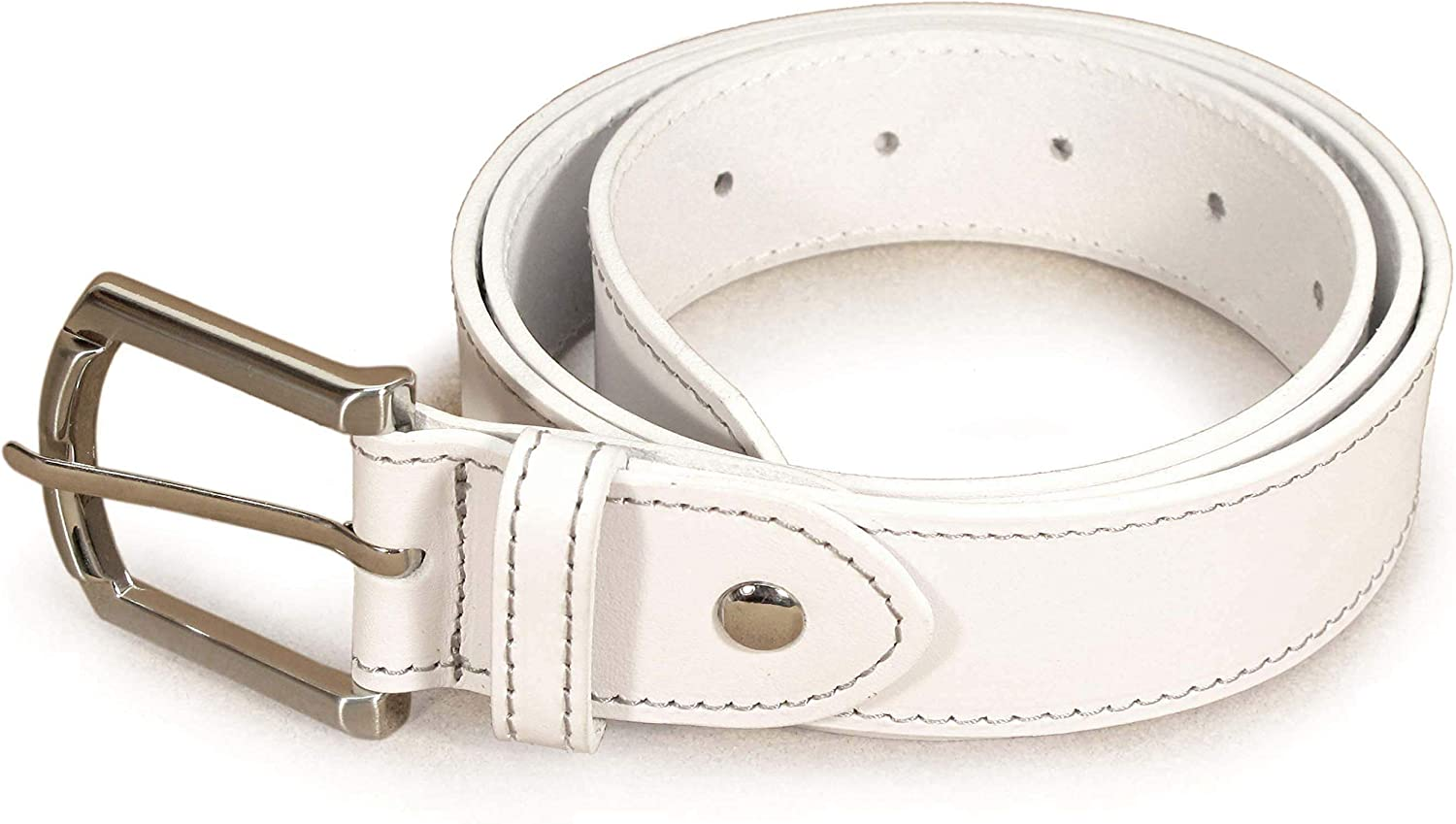 Womens Real Genuine Leather Belt Black Brown White 1.25 Wide S-XL Casual Jeans TU6