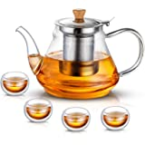 SUSTEAS 1000ml/33oz Glass Teapot with Extra Double Wall cups, Removable Stainless Steel Infuser, Borosilicate Glass Tea…