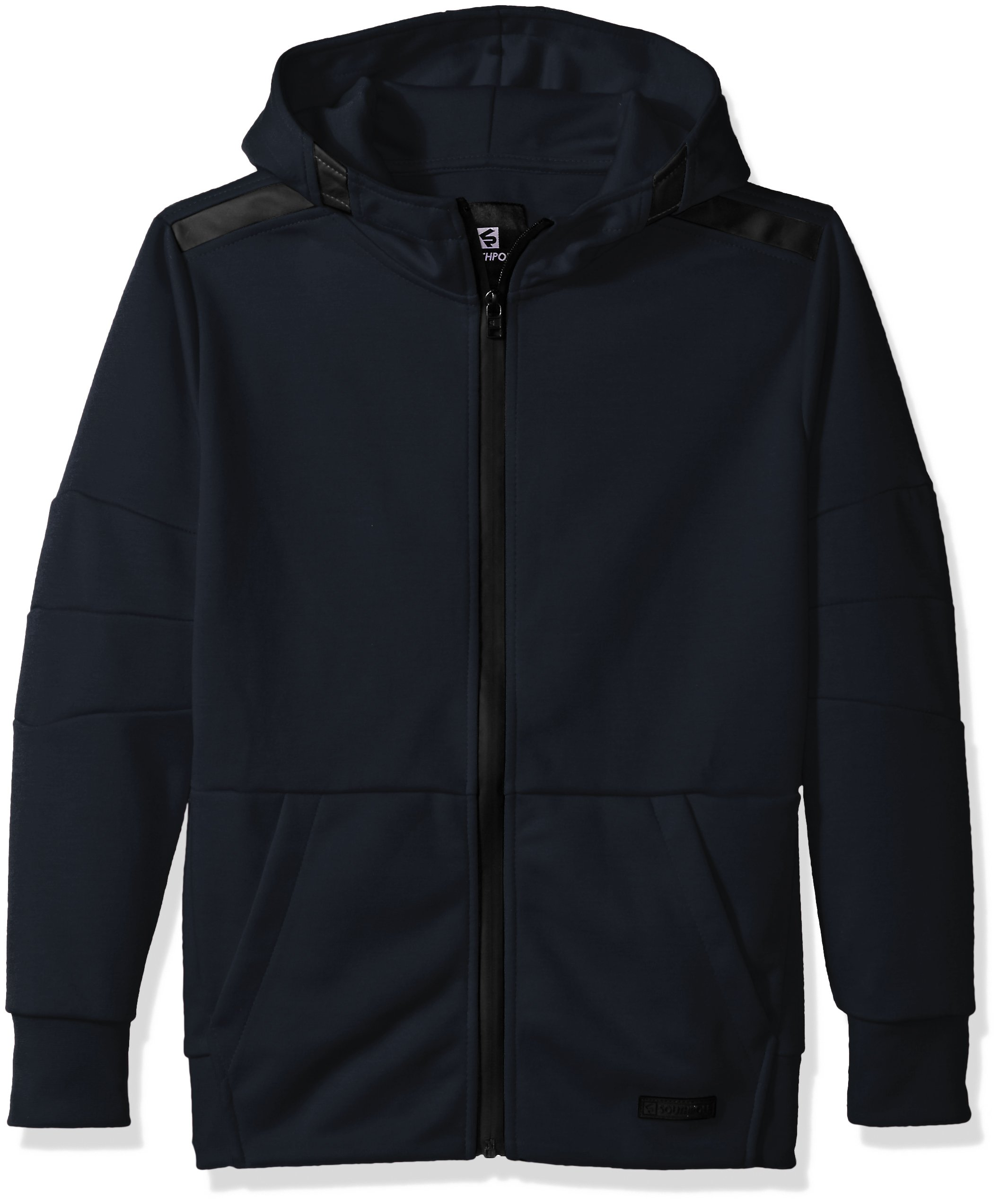 Southpole Boys' Big Tech Fleece Hooded Fullzip with Zipper Details, New Navy, Large