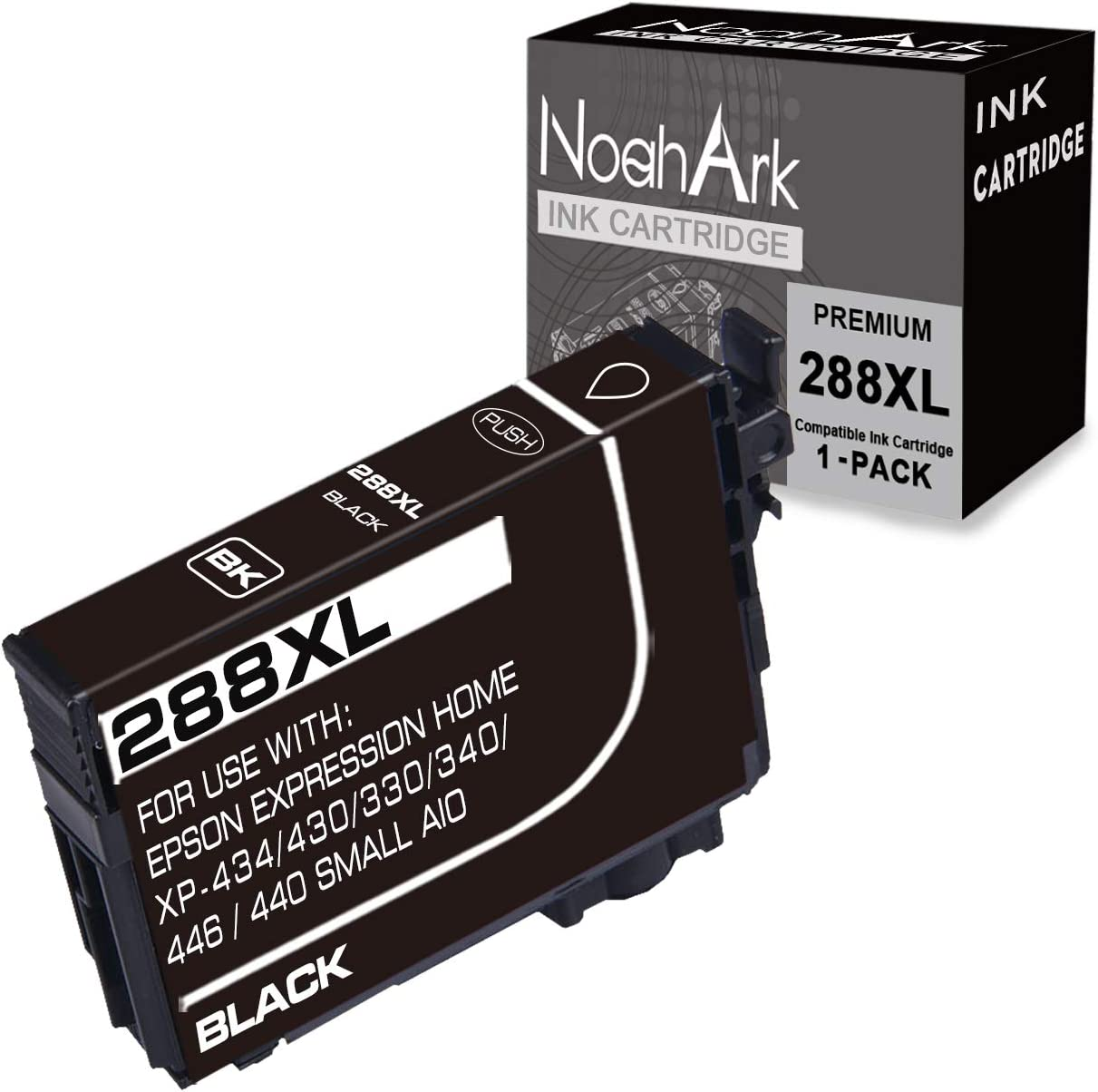 NoahArk 1 Pack 288XL Remanufacture Ink Cartridges Replacement for Epson 288 XL 288XL T288XL for Expression Home XP-430 XP-440 XP-330 XP-340 XP-434 XP-446 Printer (1 Black)