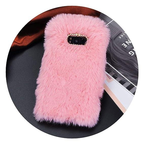 best website d88a5 90244 Amazon.com: Luxury Fur Plush Diamond Phone Case for Samsung S6 S7 S6 ...