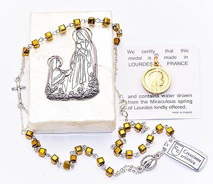 Juego de regalo de rosario católico con colgante de oro virgen de Mary Lourdes, rosario