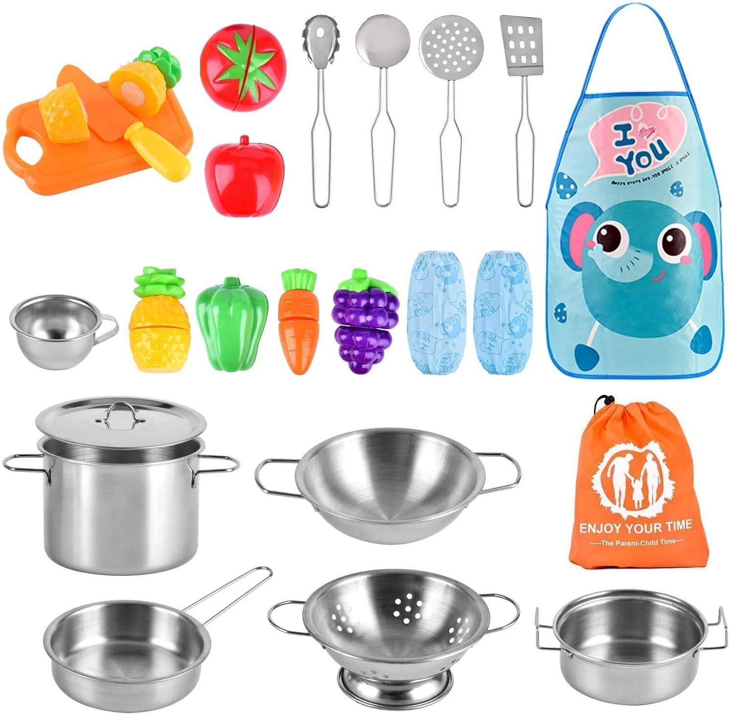 AMOYEE Juguetes de Cocina para niños, 25 Piezas Juguetes de Chef para Niños, Utensilios de Cocina de Acero Inoxidable, Manga, Vegetales para Cortar, Apto para niños Mayores de 3 años