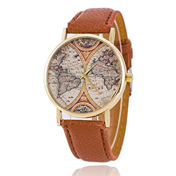 Reclaimed Vintage Reclaimed Vintage Inspired Map Leather Watch In Brown  Exclusive To ASOS - Brown from ASOS USA | ShapeShop