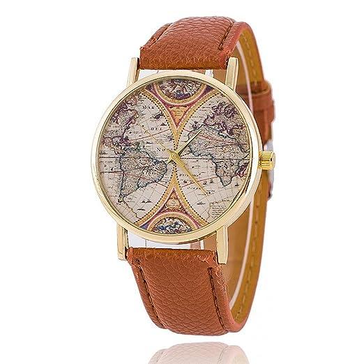 Amazon.com: Fashion World Map Watch Leather Women Watches Quartz ...