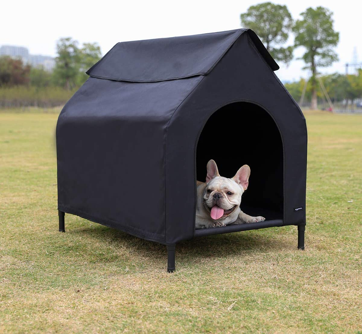 AmazonBasics Elevated Portable Pet House, Small 35 x 32 x 26 Inches , Black