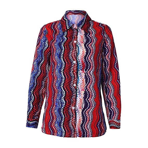 96a573dcfd5 PAOLIAN Blusa de Mujer Otoño 2018 Blusa Manga Largas Escote V Ropa para Mujer  Estampado de Rayas Camisetas Ancho Camisas Señora Cuello de Solapa Fiesta:  ...