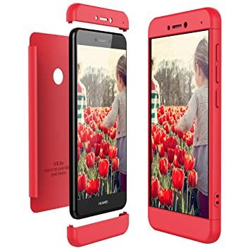 CE-Link Funda Huawei P8 Lite 2017, Carcasa Fundas para Huawei P8 Lite 2017, 3 en 1 Desmontable Ultra-Delgado Anti-Arañazos Case Protectora - Rojo