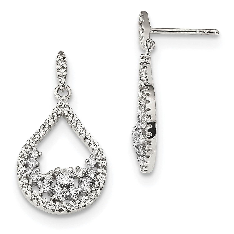 925 Sterling Silver CZ Teardrop Dangle Post Earrings