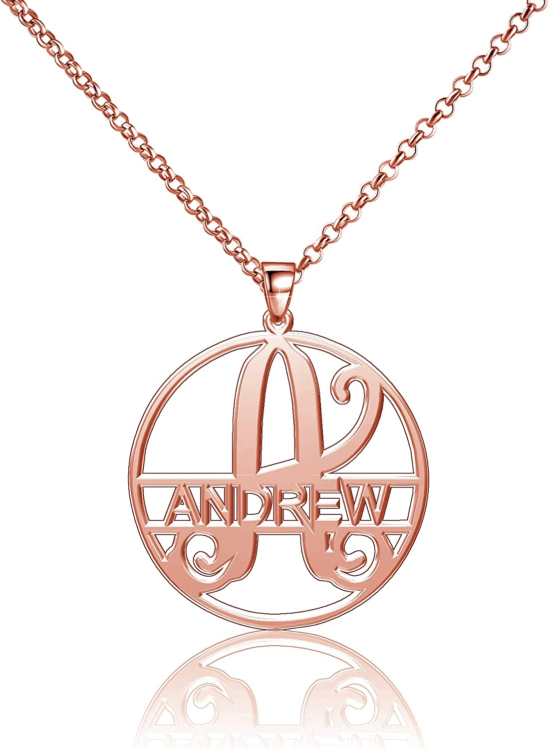Moonlight Collections Andrew Necklace Personalized Necklace Name Cursive Monogram Disc Pendant