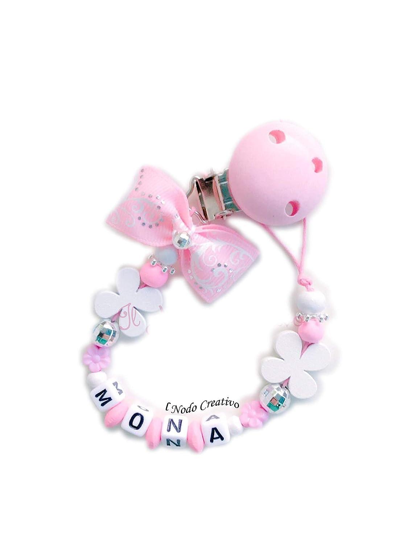Chupetero rosa | cadena de chupete con nombre adaptable | il ...