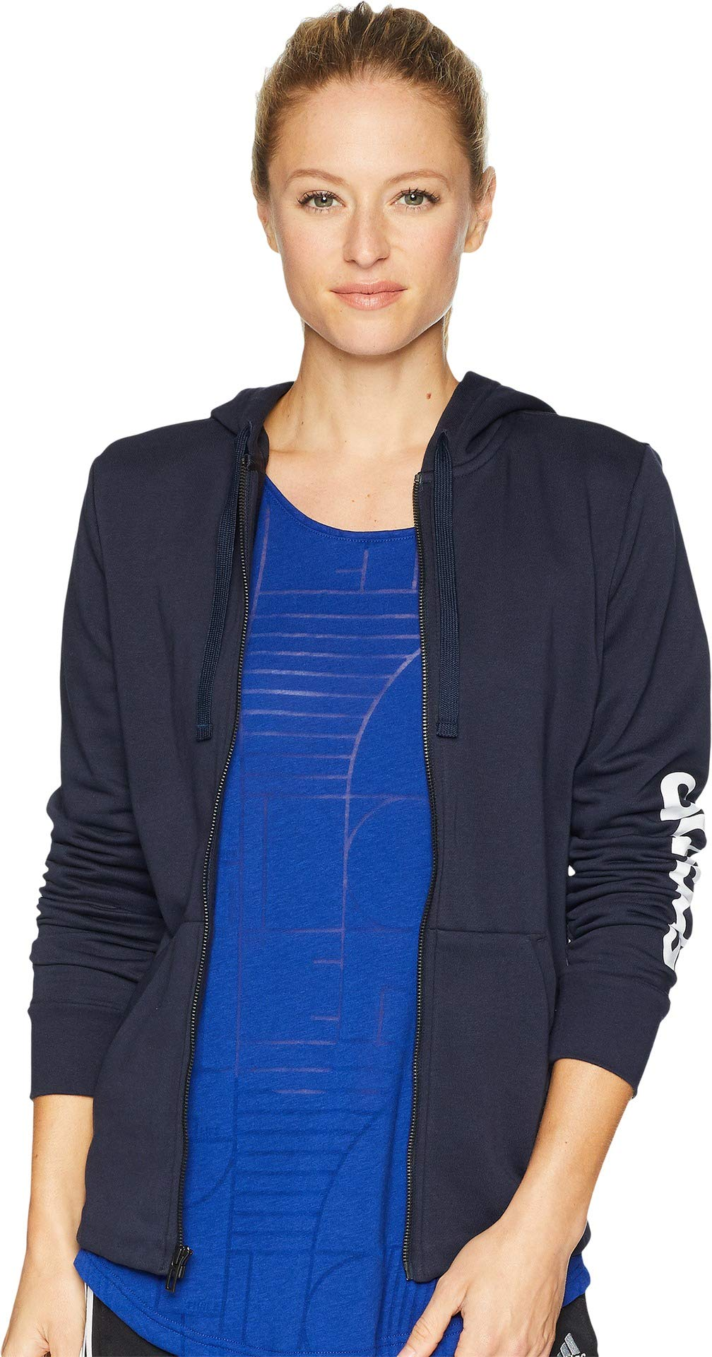 adidas Women's Essentials Linear Full Zip Hoodie Legend Ink/White X-Small by adidas