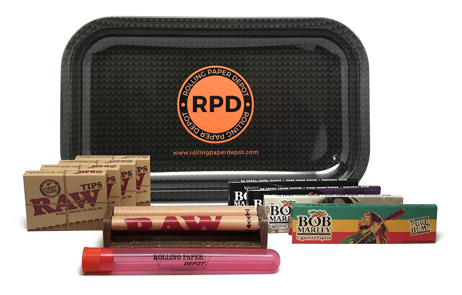 Bundle - 11 Items - Rolling Paper Depot Tray, Bob Marley King Size Papers, RAW Pre-Rolled Tips, RAW 110mm Roller and Rolling Paper Depot XL Doobtube (Carbon)