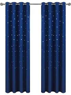 Royal Blue Perfect for Baby Nursery Star Wars Themed Kids Room Blackout Curtains Kotile 2 Panels 63 Inch Length Grommet Thick and Soft Room Darkening Curtain with Laser Cutting Stars