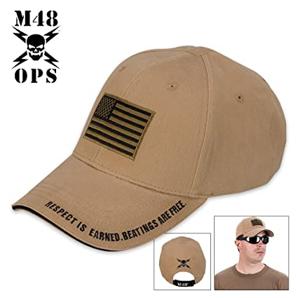 Amazon.com  M48 Gear American Flag Tactical Hat - Cap Coyote Brown  Sports    Outdoors 05b7496f973