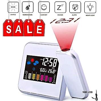 Reloj de alarma digital con sistema de proyección, multifunción, con estación meteorológica: Amazon.es: Hogar