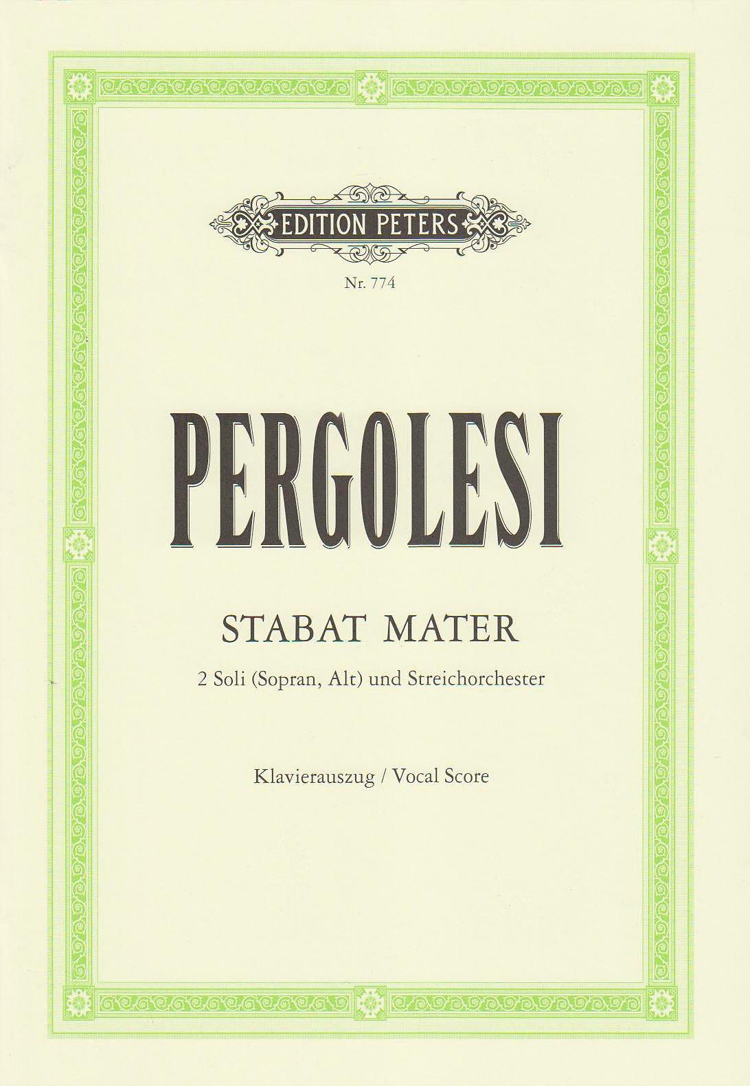 Stabat Mater: für Sopran, Alt und Streichorchester / Klavierauszug