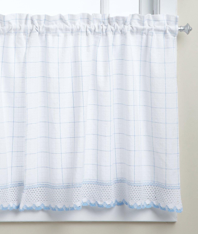 LORRAINE HOME FASHIONS Adirondack Tier Curtain Pair, 60 by 30-Inch, White/Blue