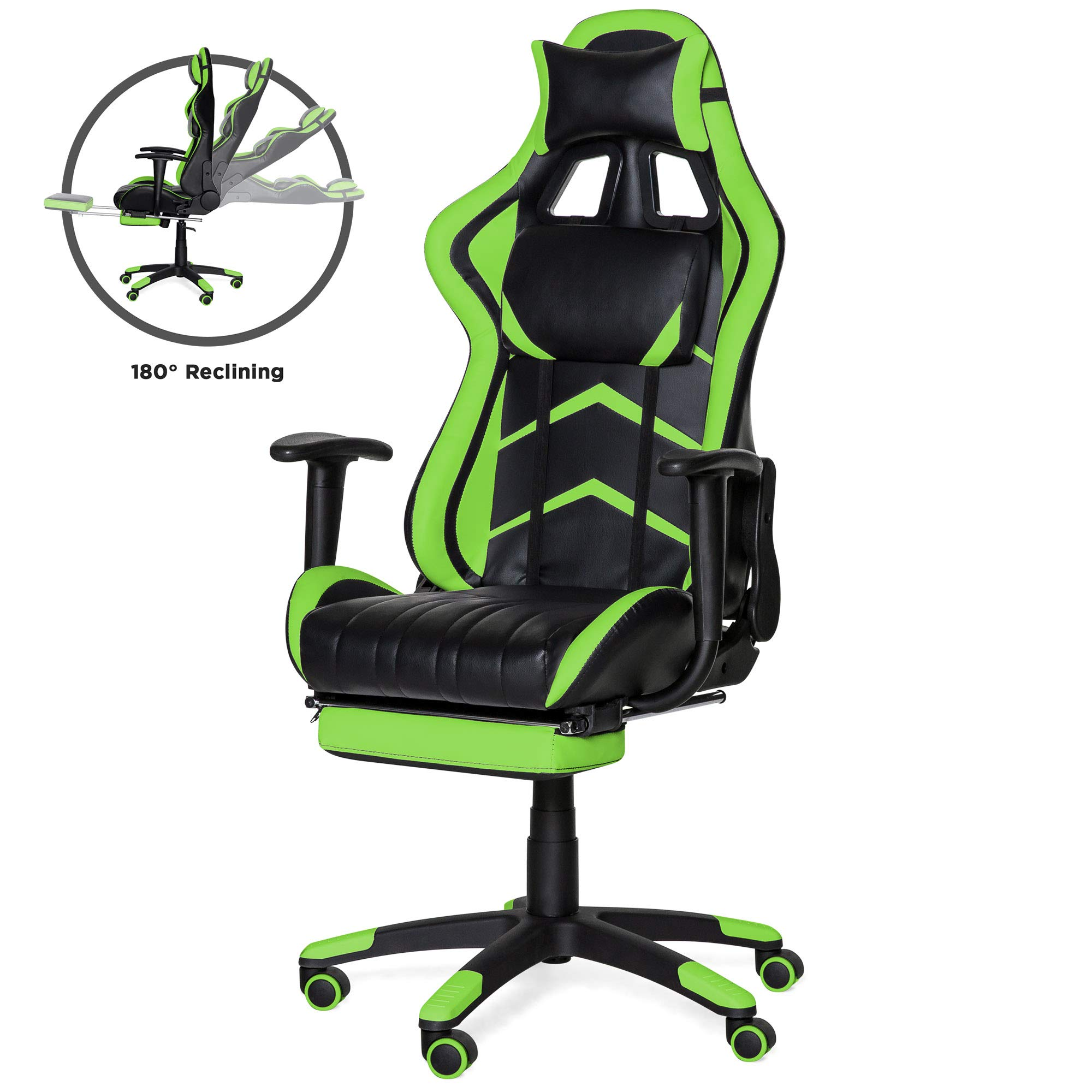 Best Choice Products Ergonomic High Back Executive Office Computer Racing Gaming Chair w/ 360-Degree Swivel, 180-Degree Reclining, Footrest, Adjustable Armrests, Headrest, Lumbar Support, Green by Best Choice Products