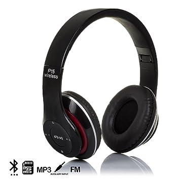 DAM. DMX016BLACK. Cascos Bluetooth 4.2 con Radio FM Incorporada Y Lector De Micro SD. Diadema Ajustable Y Acolchada. Alta Comodidad. Negro