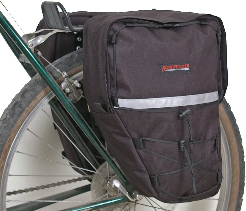 Bushwhacker Moab Black - Bicycle Rear/Front Pannier w/Reflective Sold as Pair Trim Cycling Rack Pack Bike Bag Frame Accessories