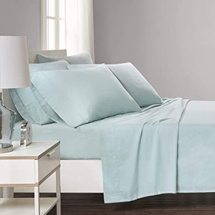Bed Sheets Set Twin   Solid Aqua 4 Piece 100% Cotton Flannel Printed Sheet  Bedding