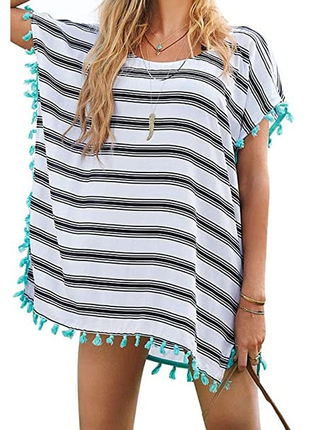 Yonala Women s Stripe Chiffon Trim Beachwear Bikini Cover-Up c9b160fc6