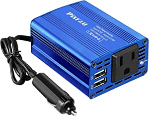 150w Power Inverter 12v to 110v Car Plug Adapter Outlet with 2 USB Ports, DC to AC Car Converter with Convection Ventilation and Cooling Fan Design
