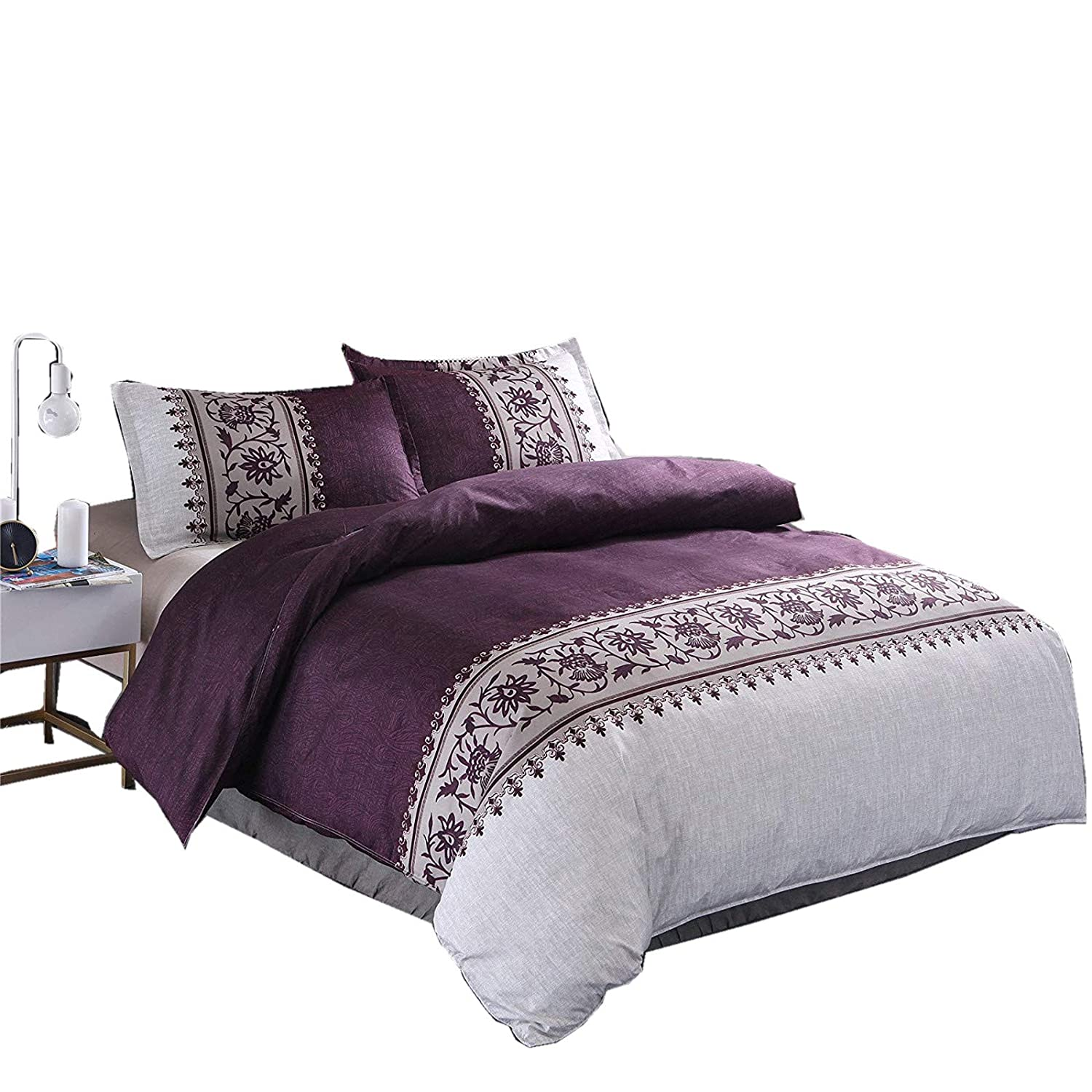 Purple Twin Meeting Story Hotel Luxury Soft Microfiber Convallaria Printed Pattern Reversible Duvet Cover Set Home Kitchen Duvet Cover Sets