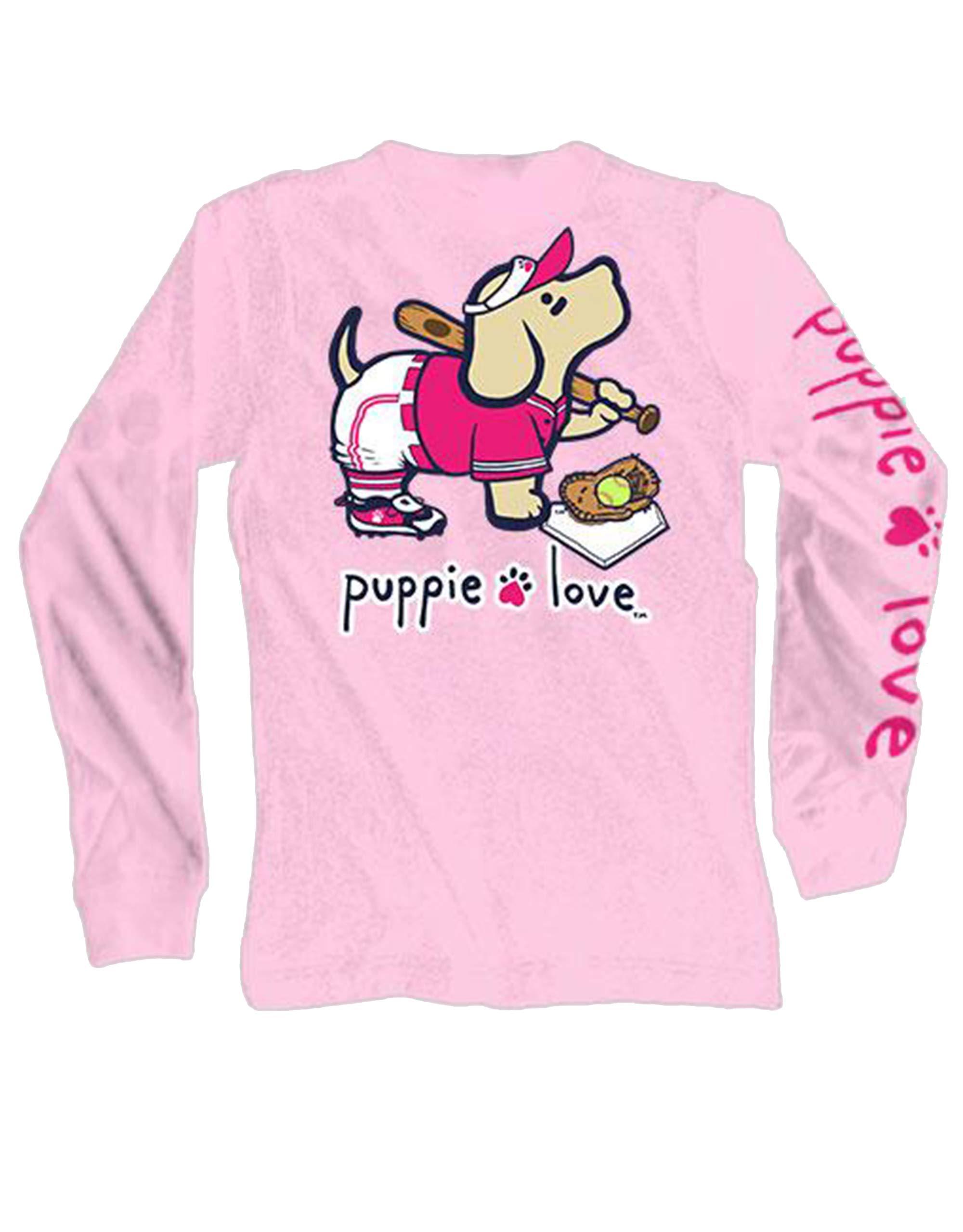 Puppie Love Softball Pup Adult Long Sleeve T-Shirt-Small