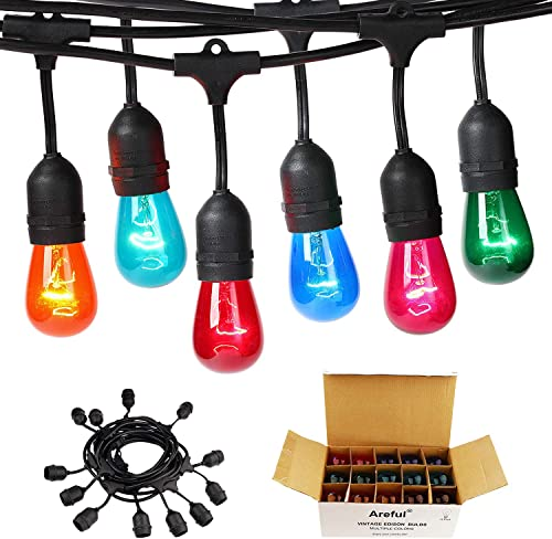 Colored Outdoor String Lights, 24ft Weatherproof Connectable Multicolored Commercial Lighting Strands with 12 Hanging Sockets and 15 S14 Bulbs for Patio Bistro Porch Garden Deck Caf or Party