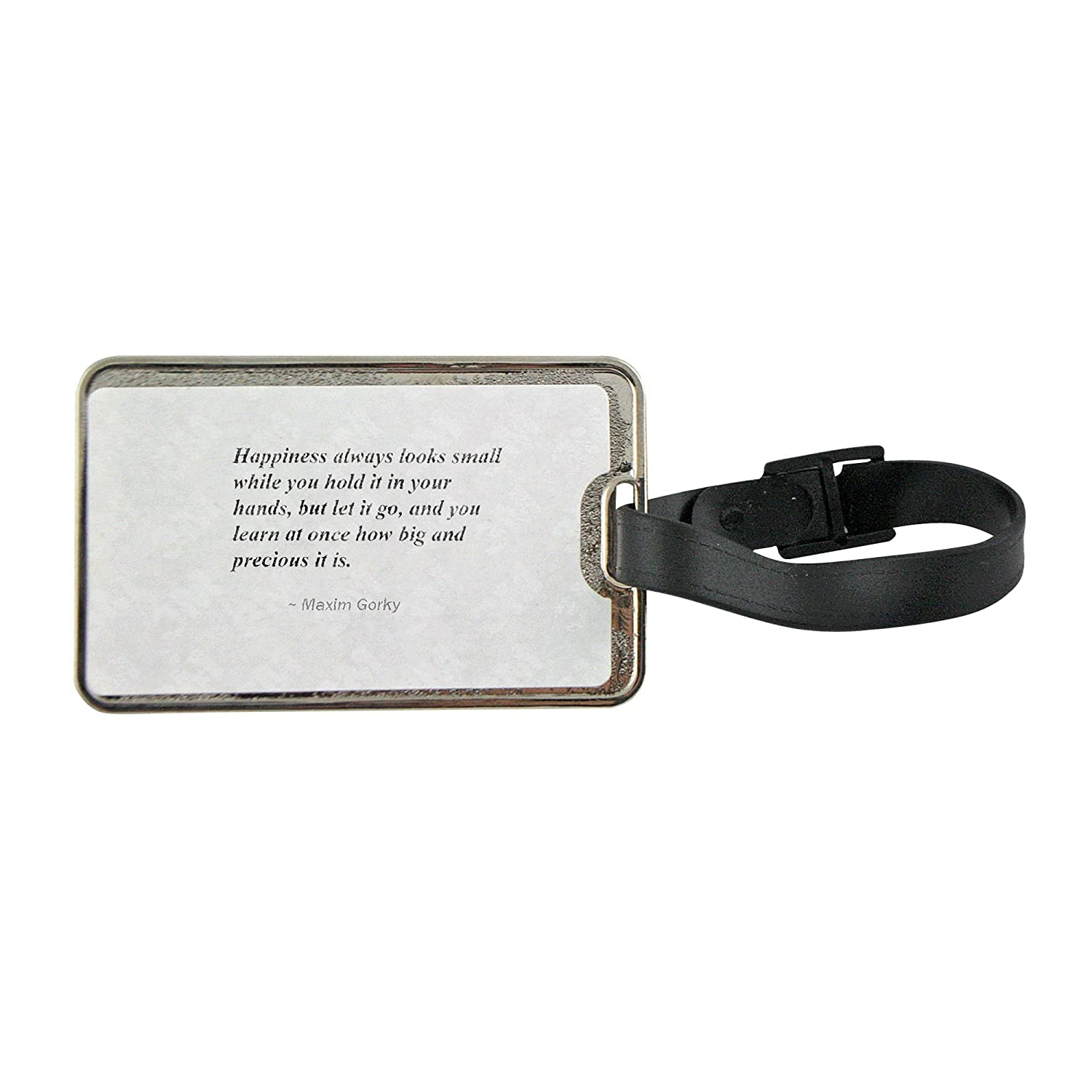 low-cost Metal luggage tag with Happiness always looks small while