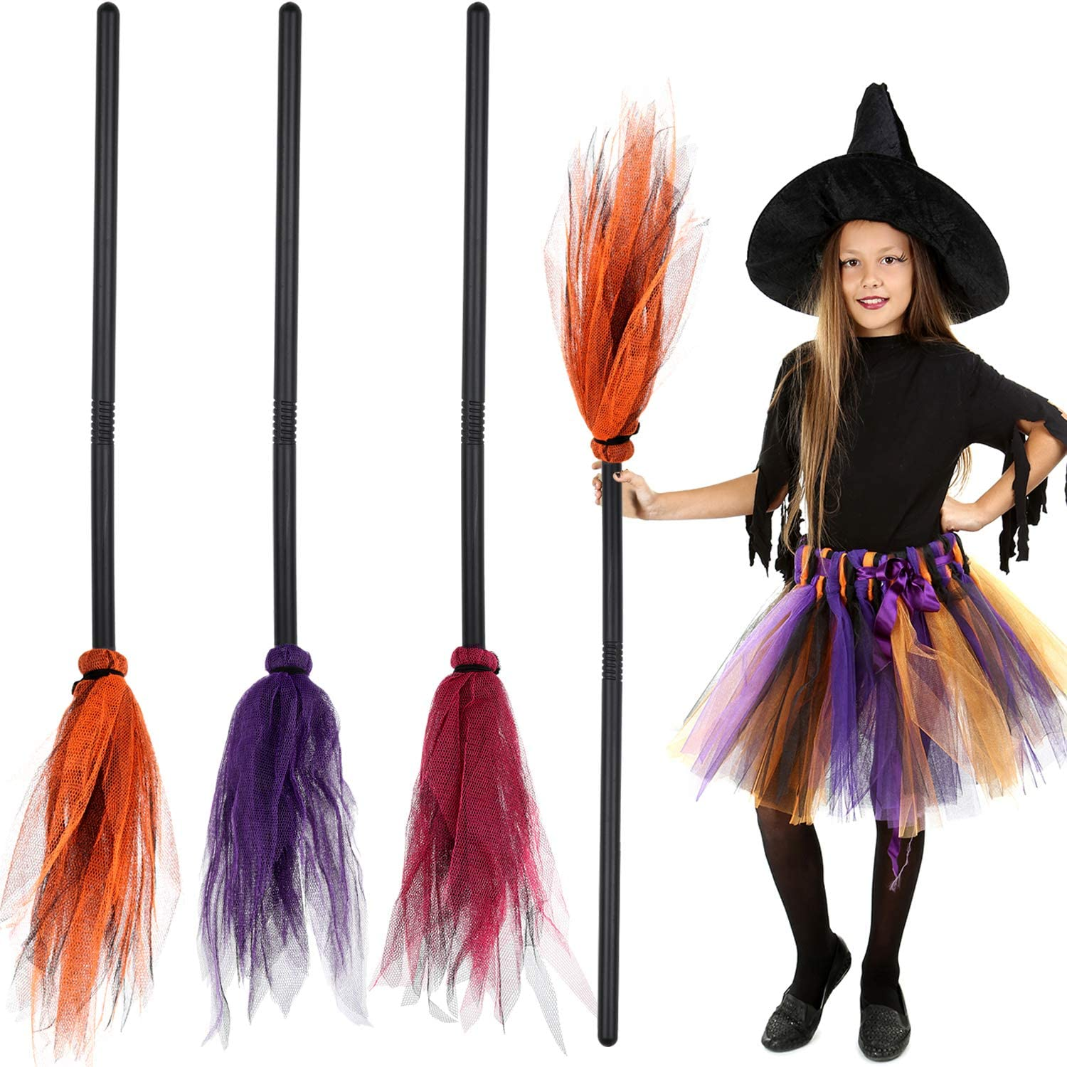 3 Pieces Halloween Witch Broom Plastic Witch Broomstick Kids Broom Props Witch Broom Party Decoration for Halloween Costume Decoration, 3 Colors (Red, Purple, Orange)