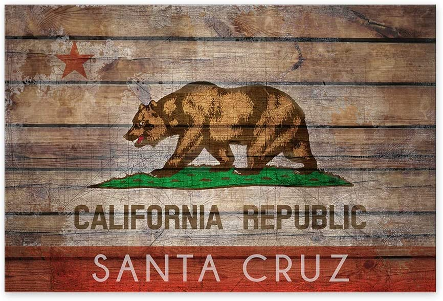 Awkward Styles Santa Cruz Poster Art Santa Cruz Decals for Home CA Flag Wall Art Santa Cruz City Printed Decor Bear Flag Art Office Decor 24