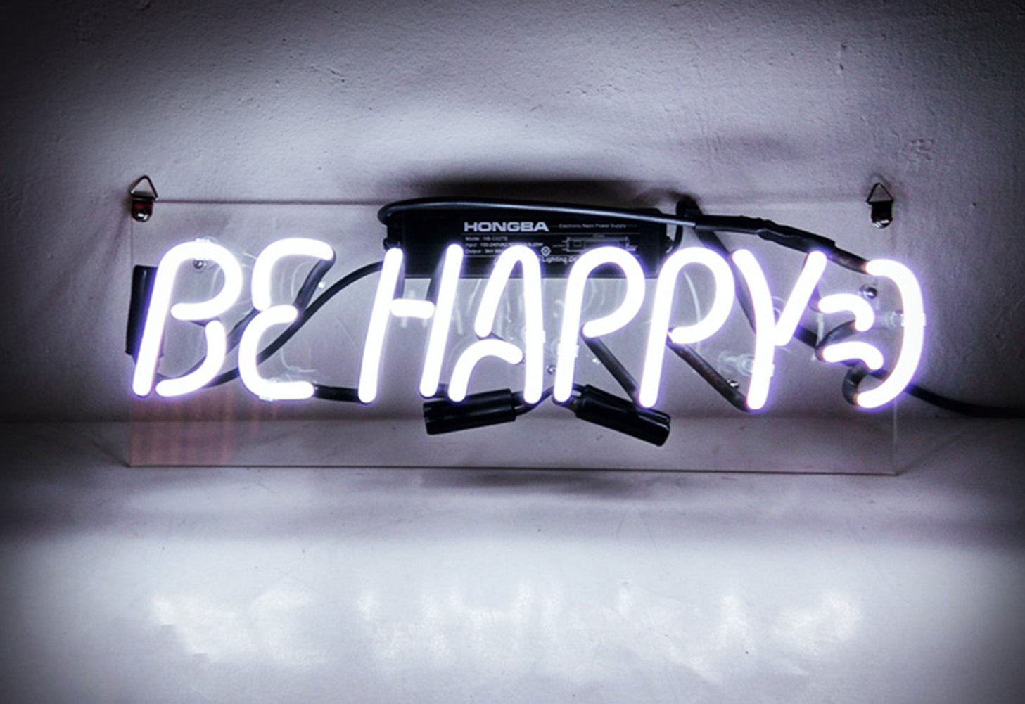 Cool Neon Sign Be Happy for Girls Bedroom Beer Bar Garage Windows Game Room 14 x 8''