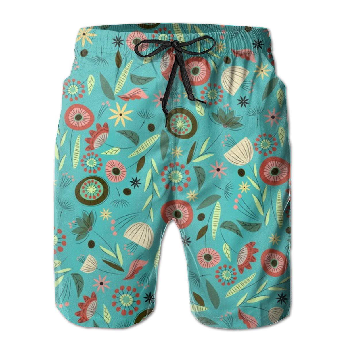 Vintage Floral Blue Mens Swimming Trousers Quick-Drying Beach Shorts Polyester
