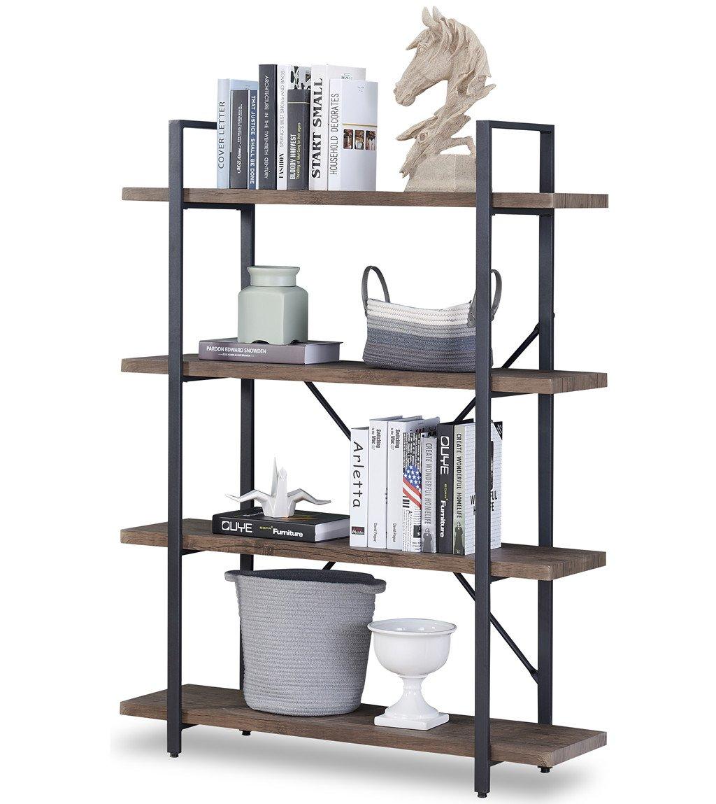 O&K FURNITURE 4-Shelf Vintage Industrial Bookcase, Display Rack Stand Storage Shelving Unit, Gray-Brown by O&K FURNITURE (Image #7)