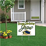"""""""Happy Birthday Jesus"""" (white) Christmas Lawn Display - Yard Sign Decoration with 2 EZ stakes"""